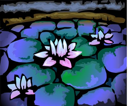 lotus effect: Digital painting of lotus in colour background