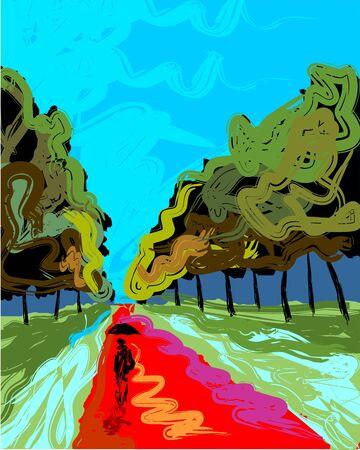 Digital painting of man walking the path Stock Photo