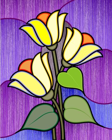 Digital painting of colourful plant and flower