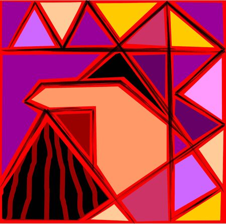 Digital painting of triangles design with background photo