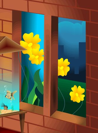 glimpse: The artist is experiencing the beauty of the flowers outside the window of the house along with a glimpse of aquarium Stock Photo