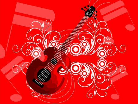 The artist is enjoying the elegance of guitar in a red back ground Stock Photo - 5515983