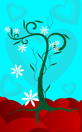 sincere: The artist is feeling a sense of sincere growing love with the hearts in the background Stock Photo