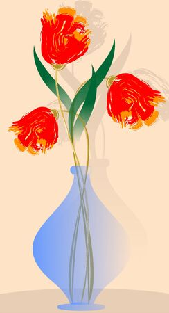 The artist is enjoying the beauty of flowers kept in a flower