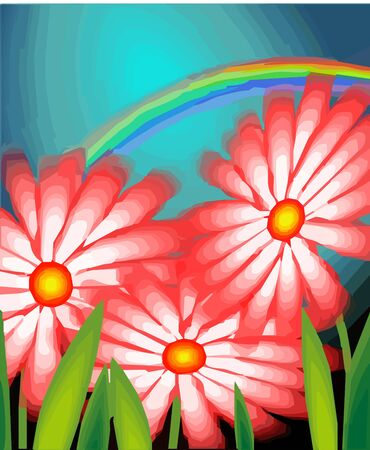 aquarell: Digital painting of flower design with aquarell Stock Photo