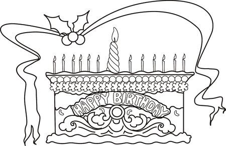 childs birthday party: Illustration of beautiful cake, ribbon, with candle light