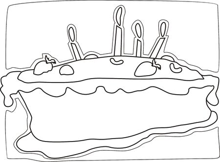 public celebratory event: Illustration of cake and candles, nuts with cream
