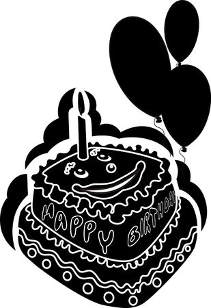 public celebratory event: Illustration of cartoon cake with candlelight and balloons Stock Photo