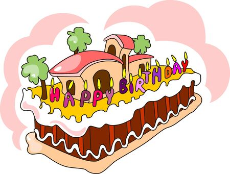 childs birthday party: Illustration of cake with cream, nuts with background