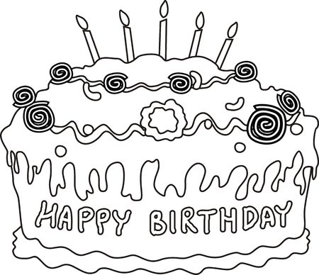 public celebratory event: Illustration of birthday cake and candle light Stock Photo