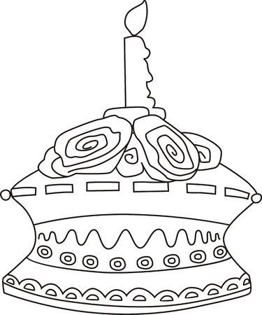public celebratory event: Illustration of cake with candle light with background Stock Photo