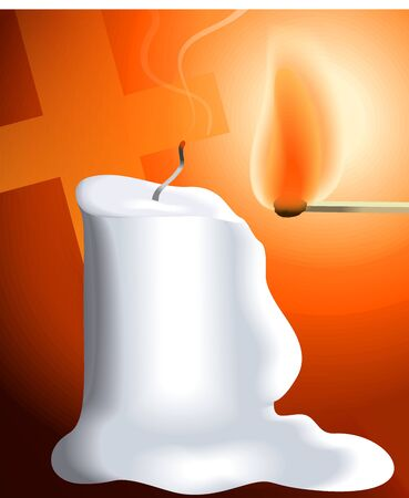 match box: Digital painting of candle is lighted by a match box stick Stock Photo
