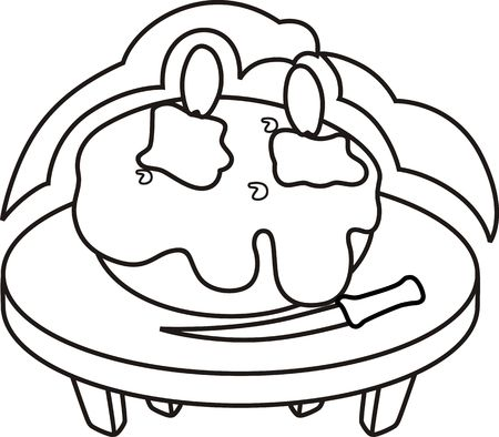 public celebratory event: Illustration of stool with cake, knife and candlelight