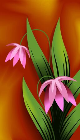 Illustration of plant with flower and colourful background Фото со стока