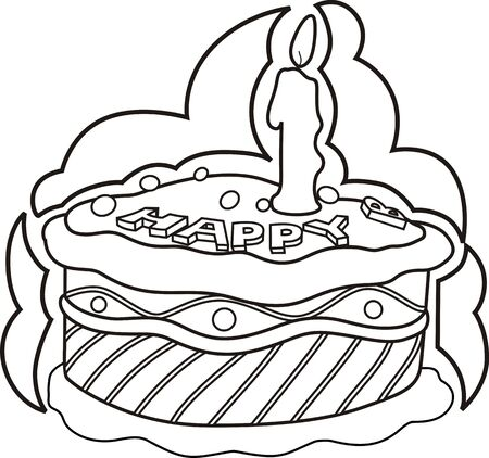 public celebratory event: Illustration of cake with candlelight  with background