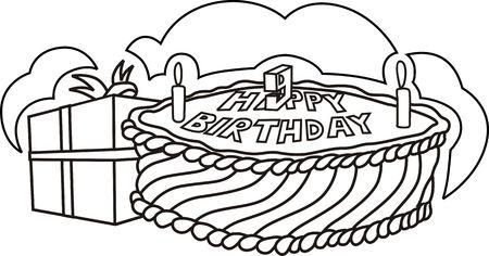 public celebratory event: Illustration of birthday cake near the gift box