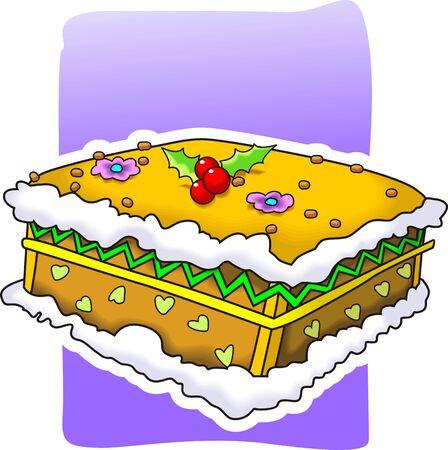 public celebratory event: Illustration of decorative cake with cherry and cream