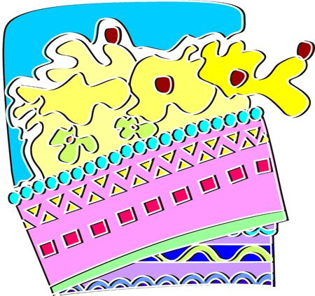 public celebratory event: Illustration of decorative cake and cream background