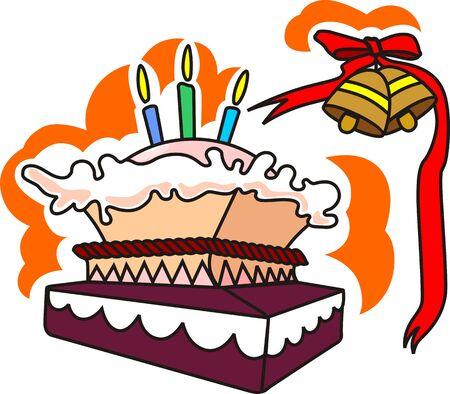 public celebratory event: Illustration of birthday cake, ribbon and bell