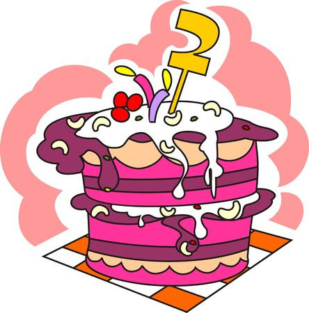 childs birthday party: Illustration of beautiful cake and number with background