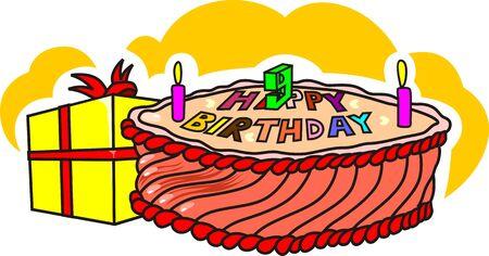 public celebratory event: Illustration of colourful cake and birthday gift
