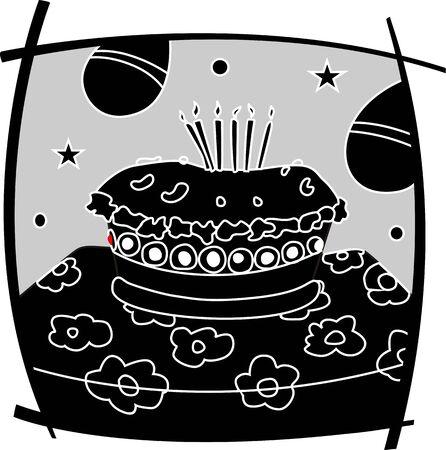 public celebratory event: Illustration of birthday celebrations cake with balloons Stock Photo