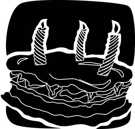 public celebratory event: Illustration of candle light and cake with cream Stock Photo