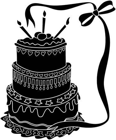 public celebratory event: Illustration of decorative cake, ribbon and candle light