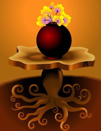 Digital   painting  of stand  and flower vase  in colour background Stock Photo - 5548072