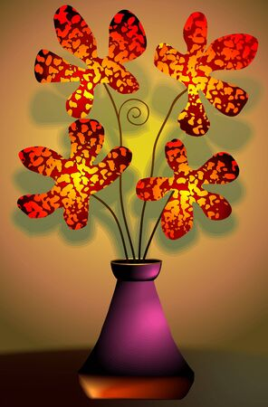 Digital   painting  of flower vase  in colour background photo