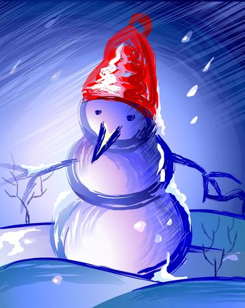 public celebratory event: Snowman as Santa Clause in red hat  in blue background Stock Photo