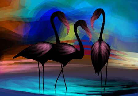 whooping: Digital painting of three crane with background