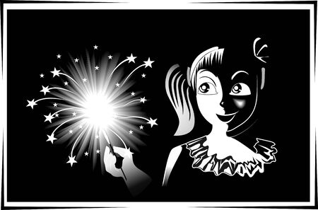 fire crackers: Illustration of fire crackers and girl celebrations to the festival