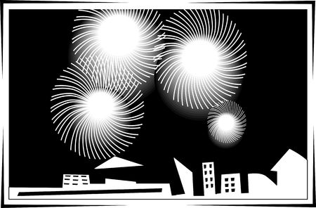 Illustration of fire works and top of building