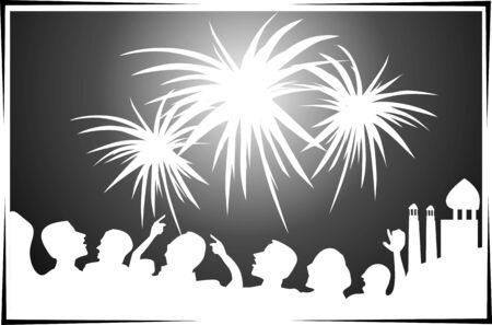 Illustration of fire works and people celebration to the festive Stock Photo