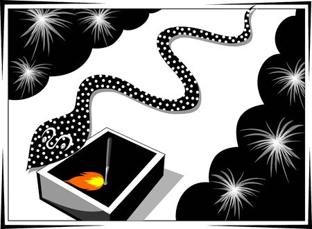 match box: Illustration of fire crackers, match box and snake