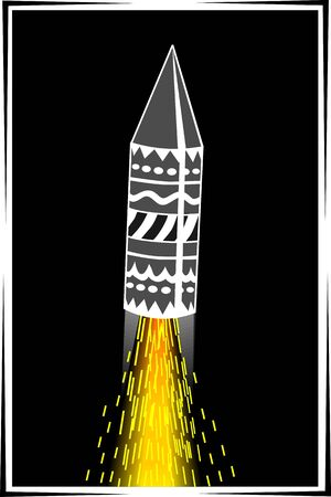 Illustration of fire crackers and  rocket fire illustration