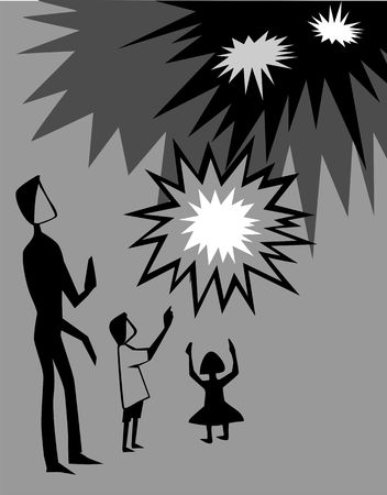 fire crackers: Illustration of fire crackers with father and children
