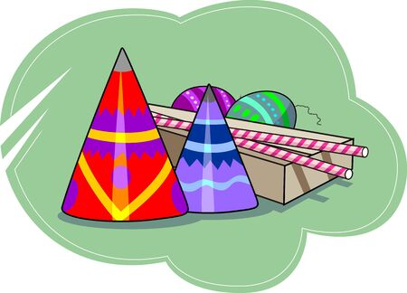 Illustration of firecrackers and celebration toys with background illustration