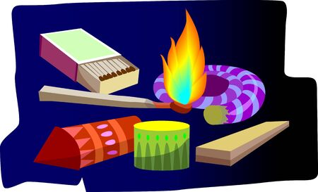match box: Illustration of fire crackers, match box and fire Stock Photo