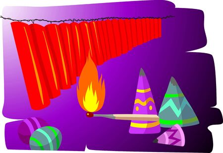 fire crackers: Illustration of fire crackers, carnival and  fire