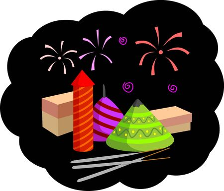 fire crackers: Illustration of fire crackers and pattern of celebration toys Stock Photo