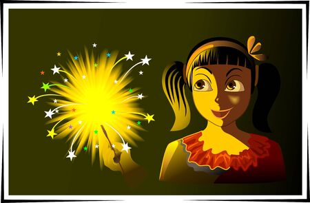 fire crackers: Illustration of fire crackers and girl playing
