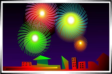 Illustration of fire works and beautiful crackers