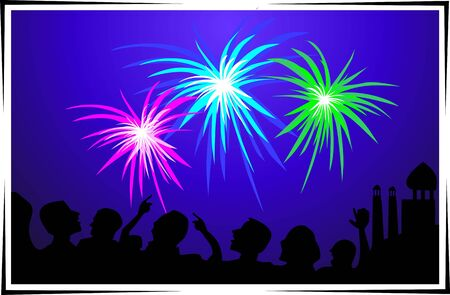 Illustration of fire works and people celebration to the party