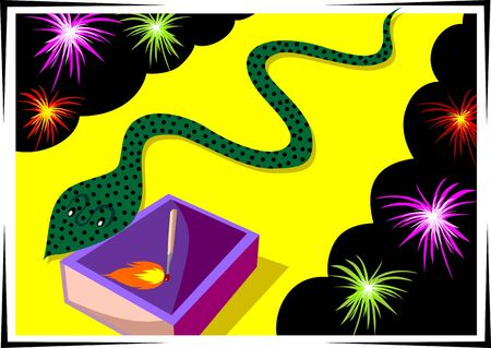 fire crackers: Illustration of fire crackers and snake with match box