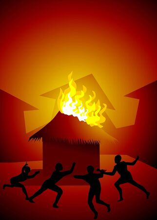 fire crackers: Illustration of fire crackers and house with fire accident Stock Photo