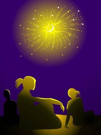 fire crackers: Illustration of fire crackers girl and boy
