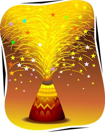 Illustration of fire crackers and beautiful work