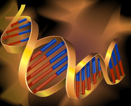 Illustration of two colour pattern of DNA model illustration